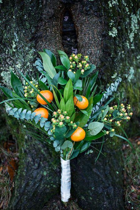 Ramo de boda de invierno de mandarina