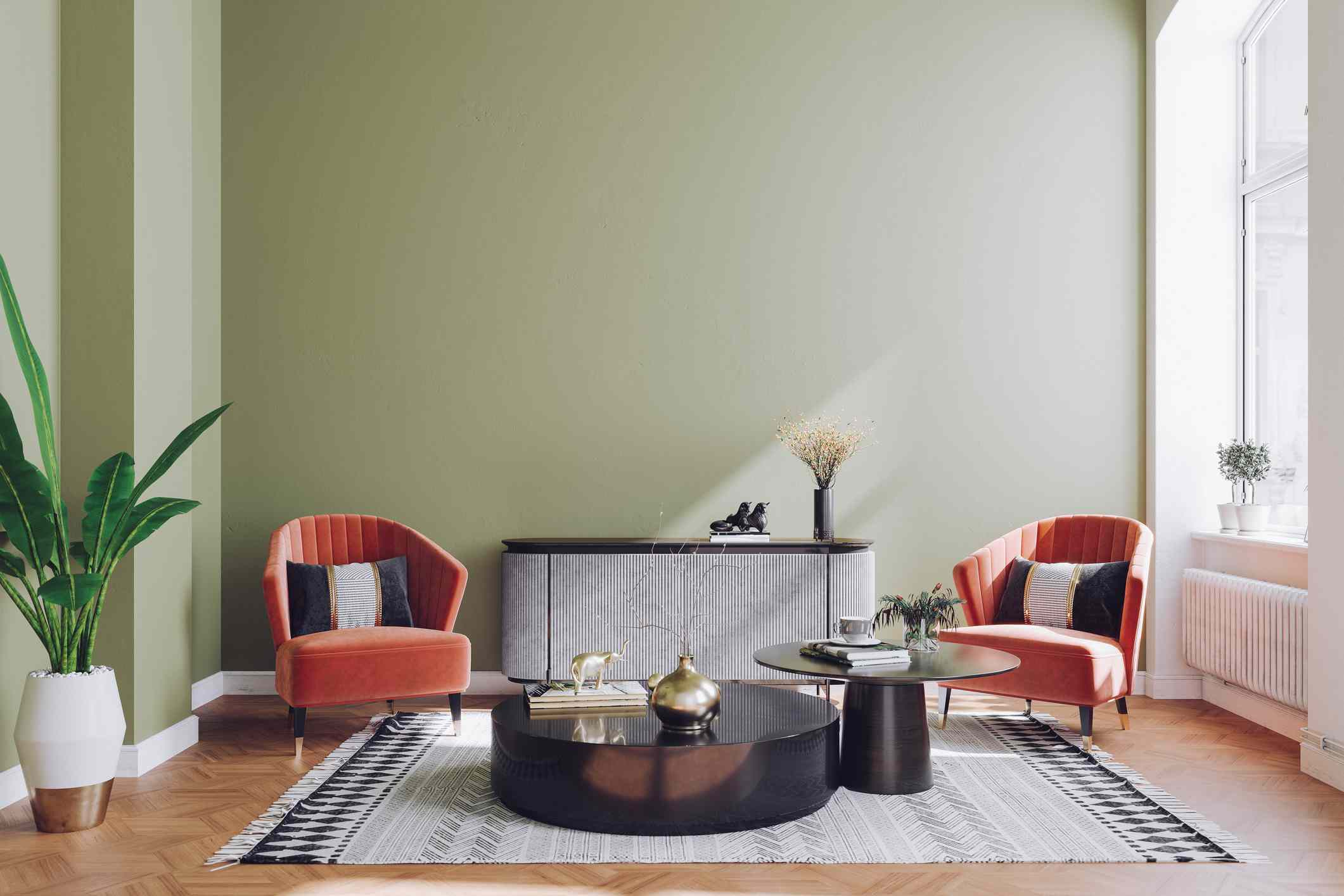 Two velvet chairs in a mid century living room