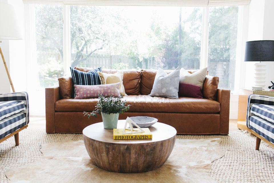 Leather sofa in boho living room