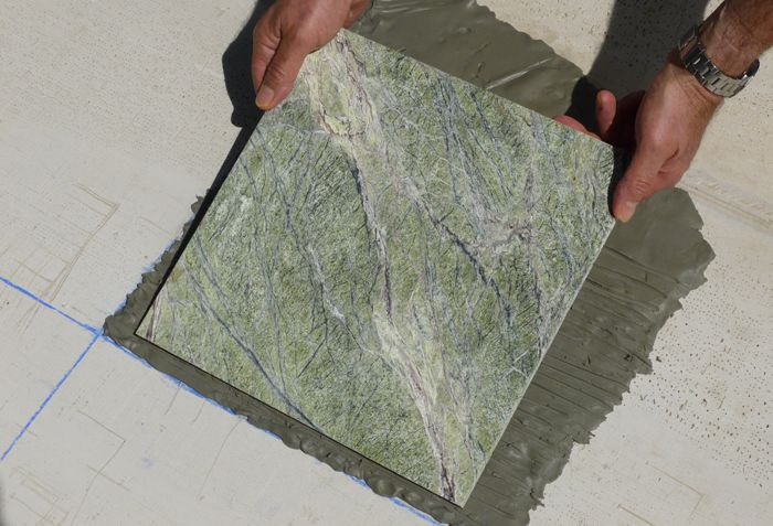 Setting a marble tile