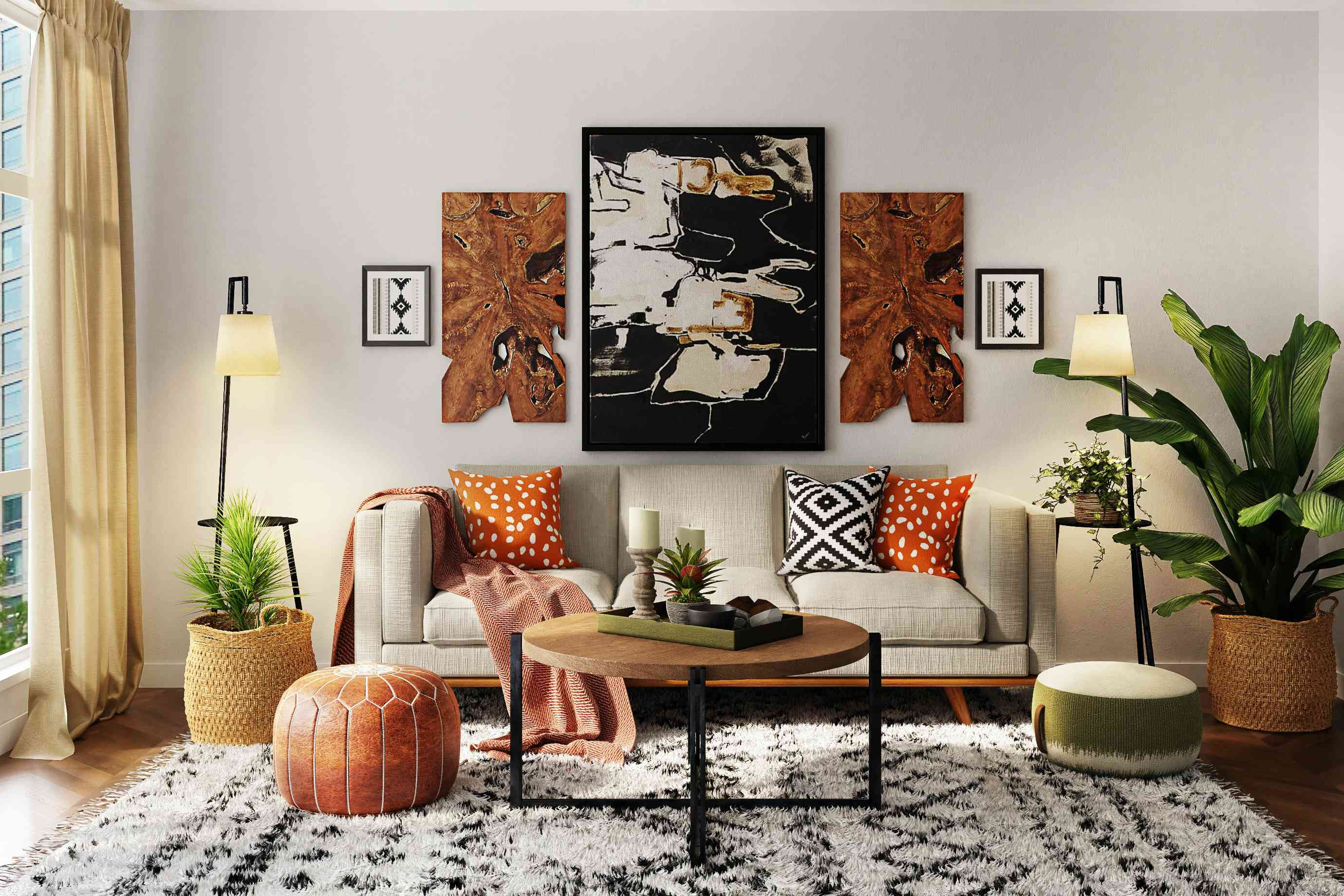 Interior with mixed patterns and textures