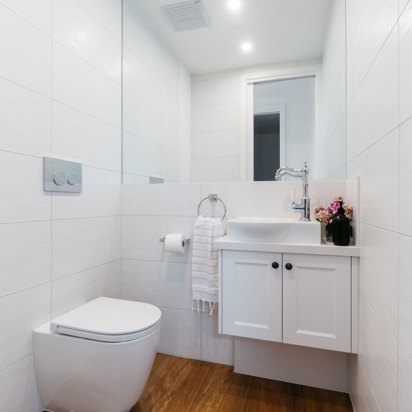 Contemporary white powder room
