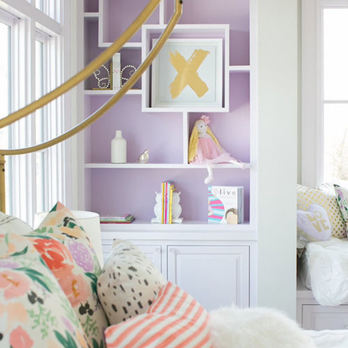 children's bedroom with purple and yellow accents