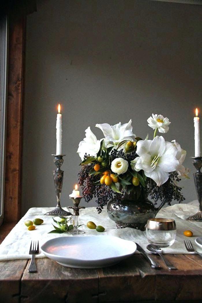amaryllis and kumquat winter centerpiece