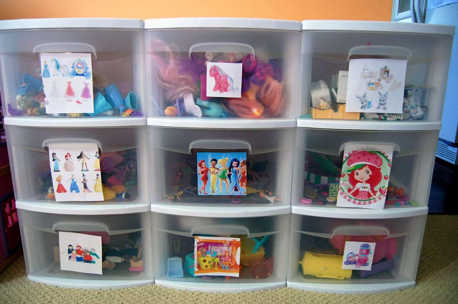 Photo labeled toy storage