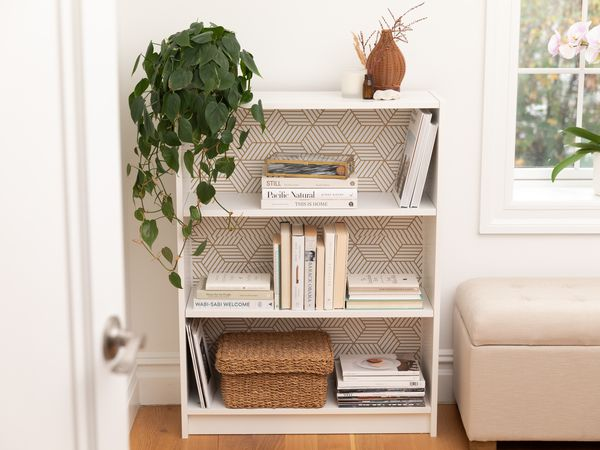 Billy bookcase with shelf paper on the inside