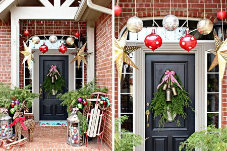 Colorful Christmas front porch - 39 Best Christmas Porch Decorations