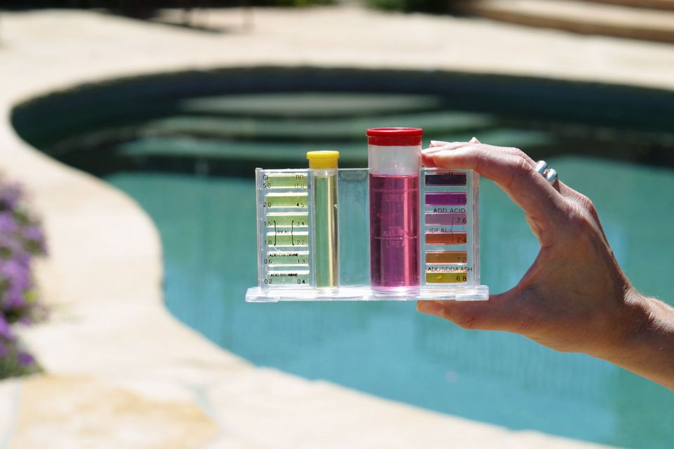 A pool test kit
