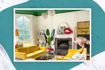 Colorful living room of interior designer Natalie Papier features huge pink ostrich
