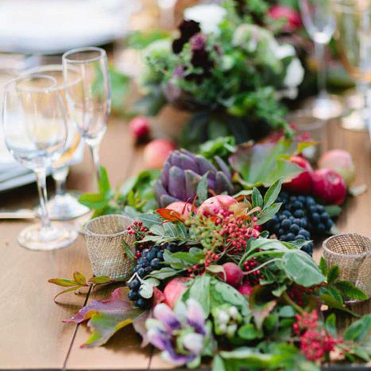 Fall Farm to Table Garland Wedding Centerpiece