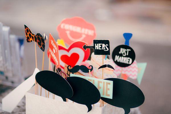 Accessories for photobooth. Wedding in Montenegro