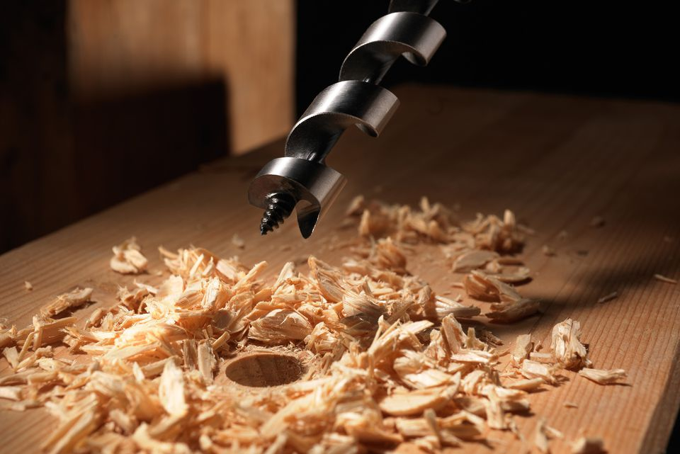 Drilling into wood at an angle