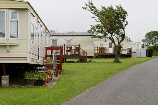 Mobile caravans or trailers in holiday park.