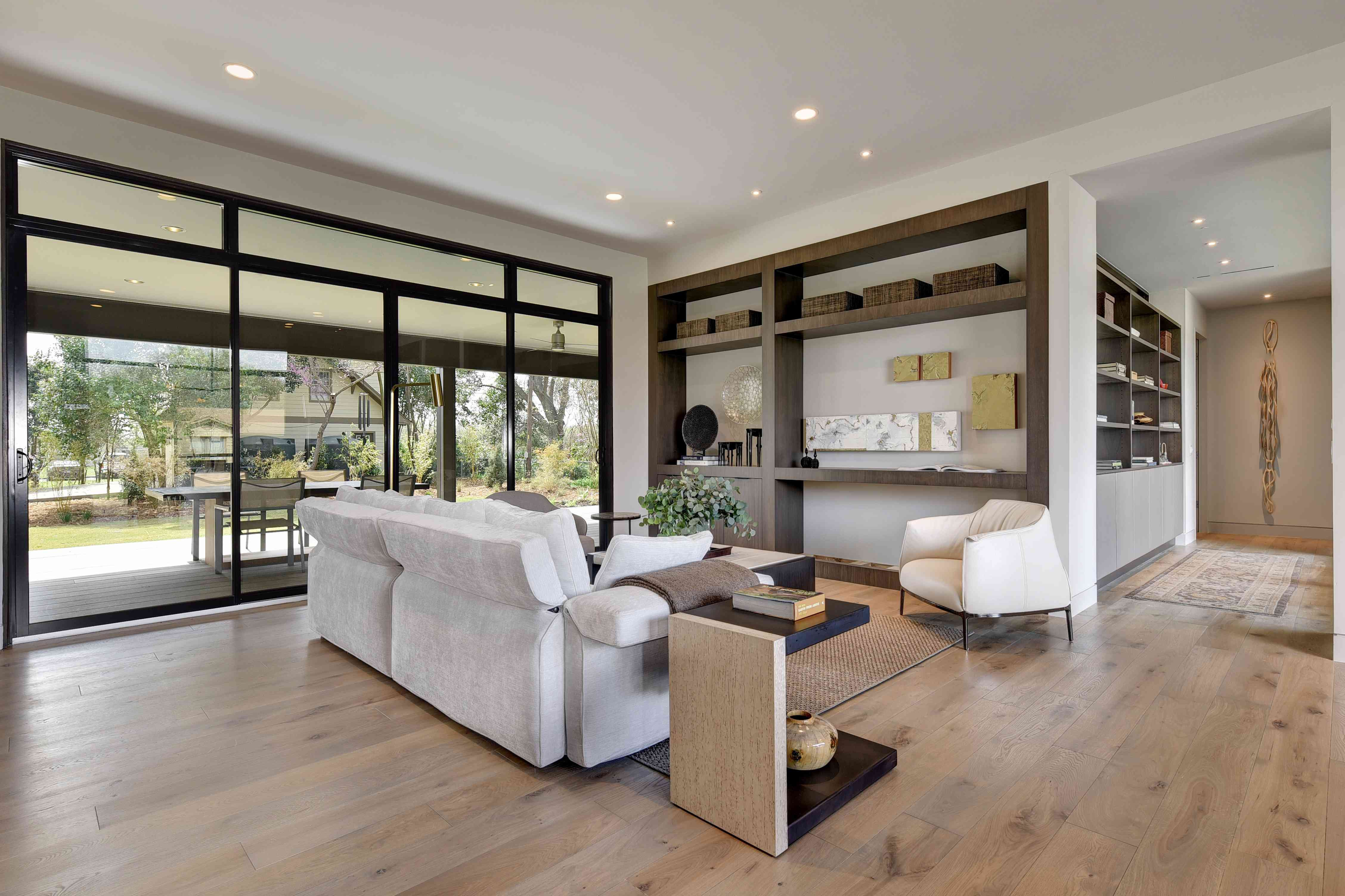 Floor-to-ceiling windows in Laura Britt's WELL home in Austin, TX, for Designer Digs