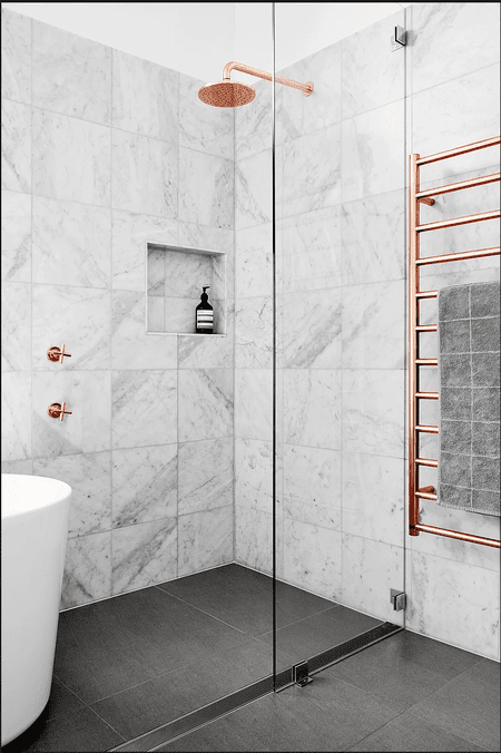 Gorgeous Bathrooms With Marble Tile - Fake marble shower walls