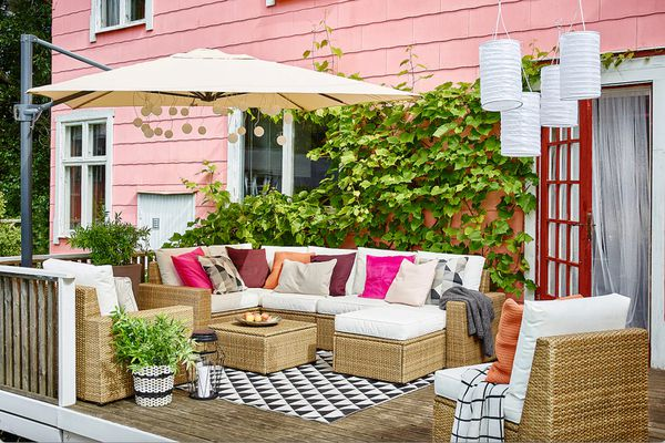 Patio with IKEA furniture and decor