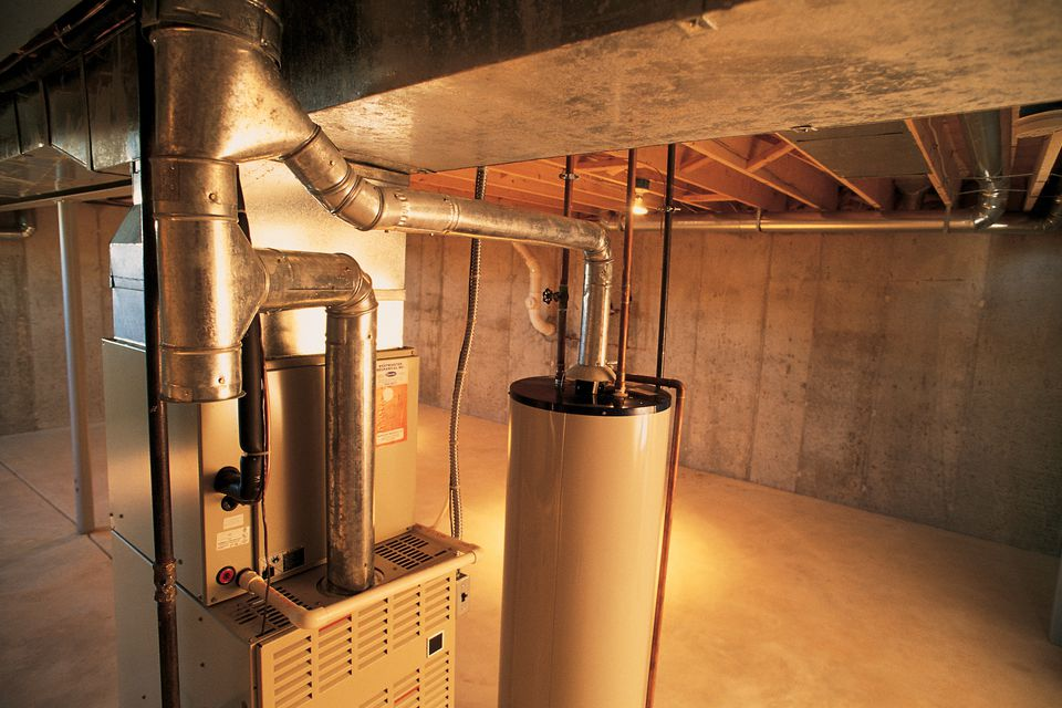 A gas furnace in a basement