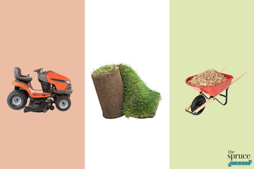 Photo composite of a lawn mower, grass roll, and a wheelbarrow over a red, white, and green background..
