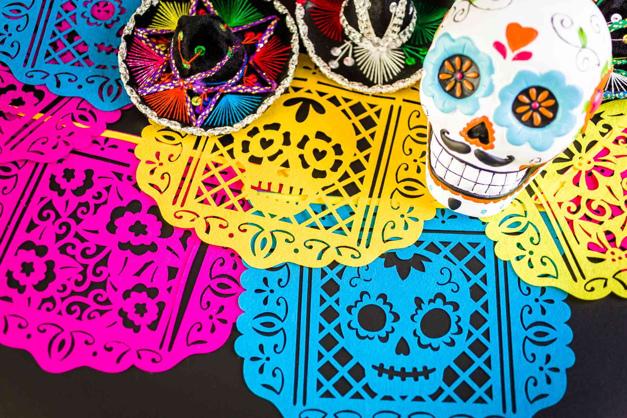 Decoraciones para la fiesta tradicional mexicana del Día de los Muertos