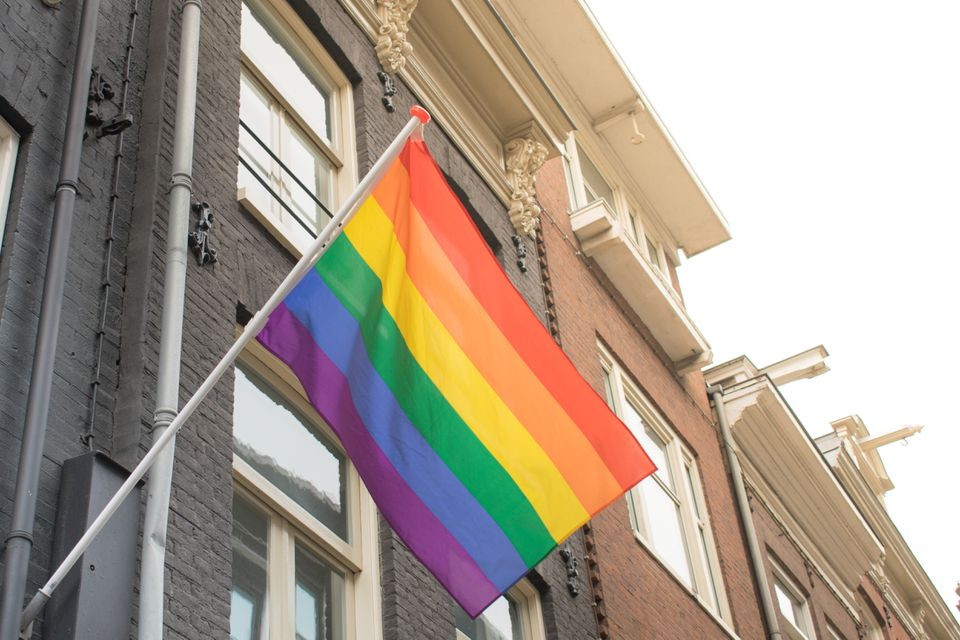 Rainbow flag on a building in Amsterdam