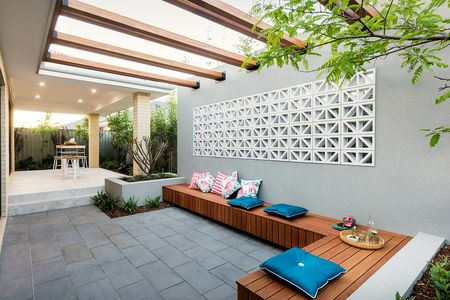 Modern Pergola. pergola ideas. Built-in bench seating prevents clutter.  Dale Alocock Homes - 25 Perfect Pergola Design Ideas For Your Garden