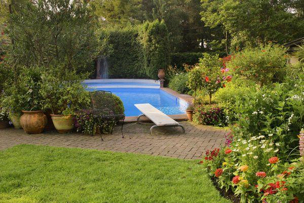 pool with beautiful garden
