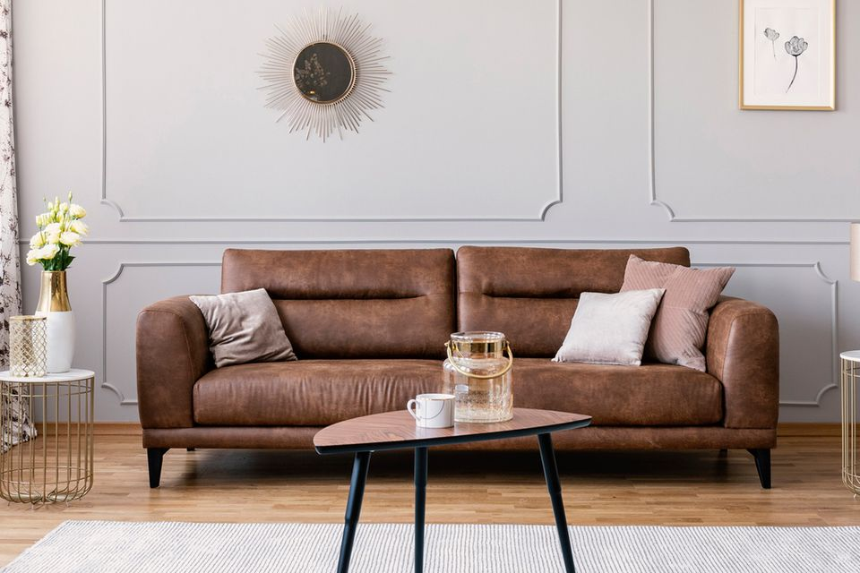 brown sofa in a living room