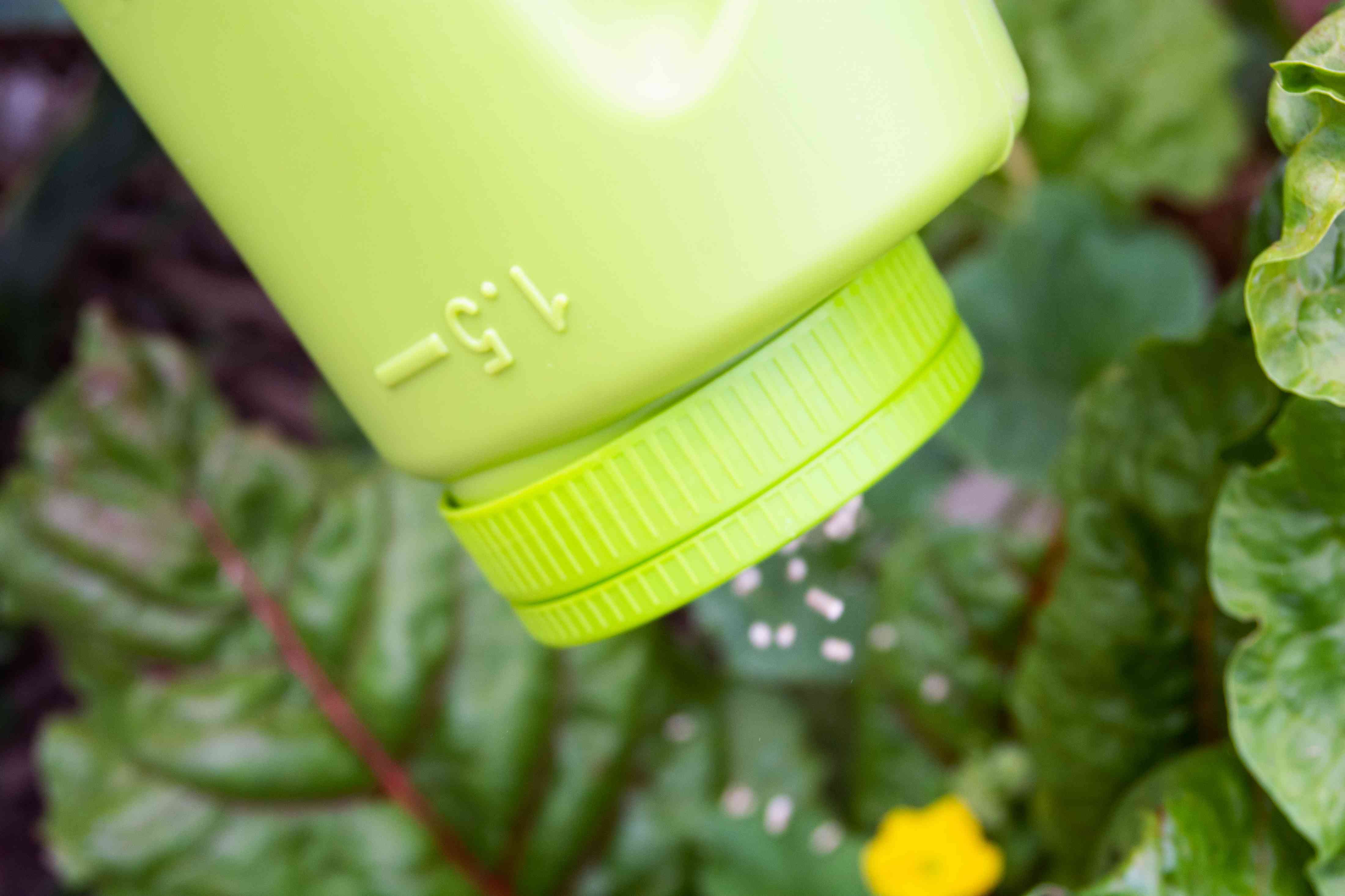 Diatomaceous earth pellets poured into garden to prevent slugs