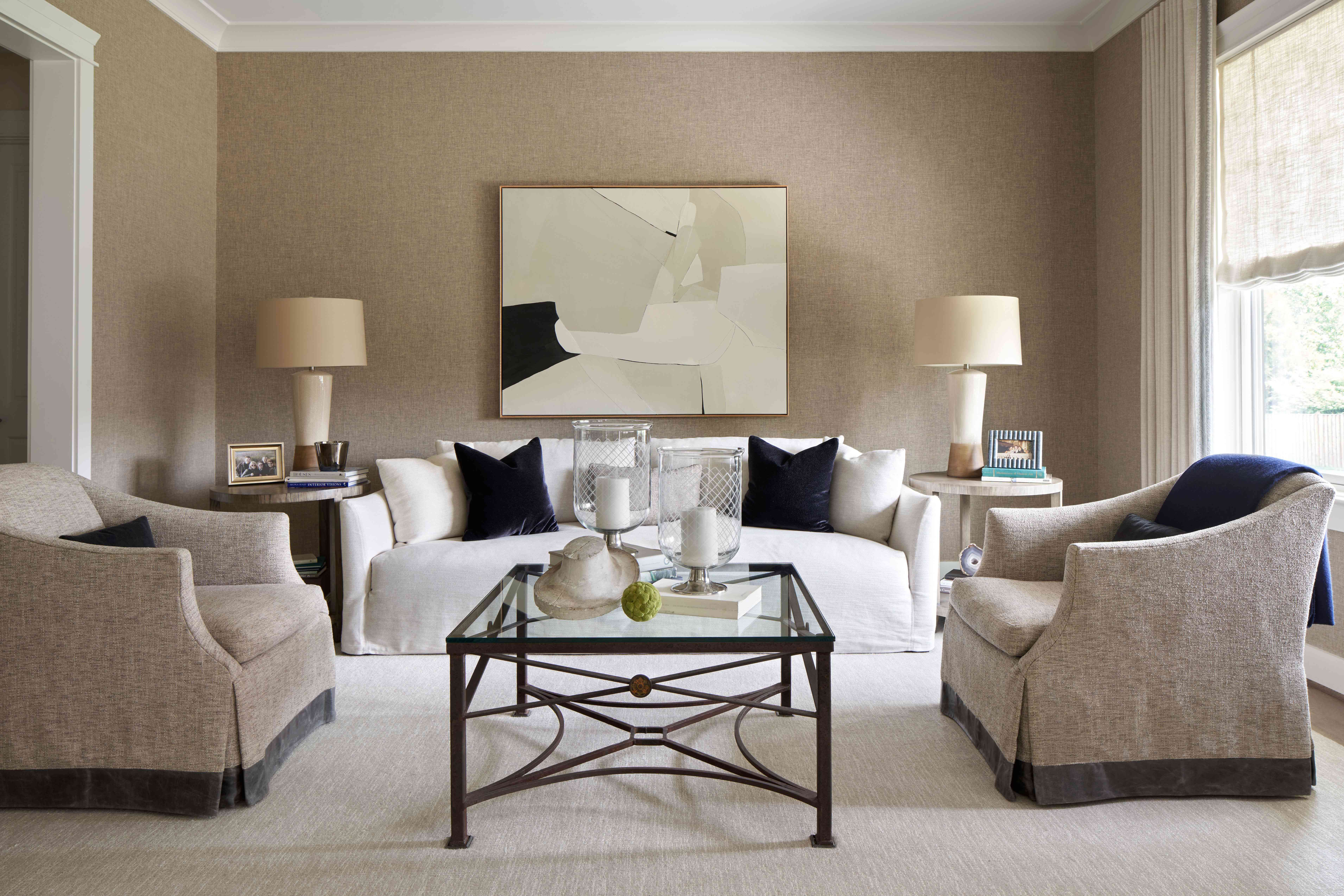 gray living room with beige walls