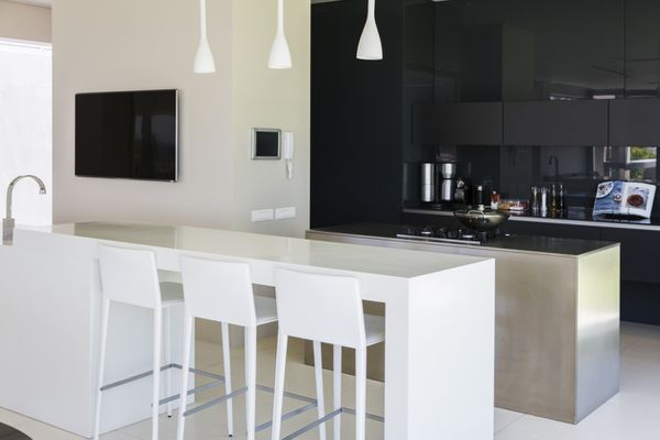 Sophisticated Black And White Kitchen, Contemporary and Stylish, Two Toned