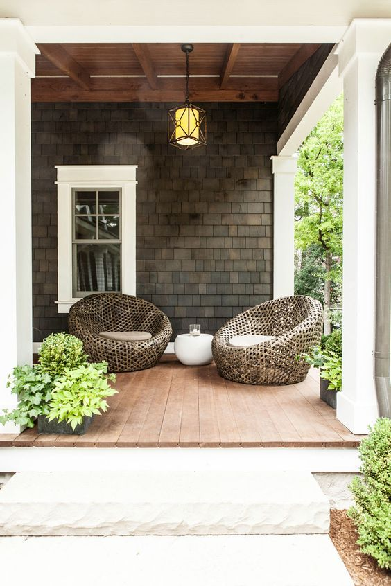 Outdoor seating arrangement on porch
