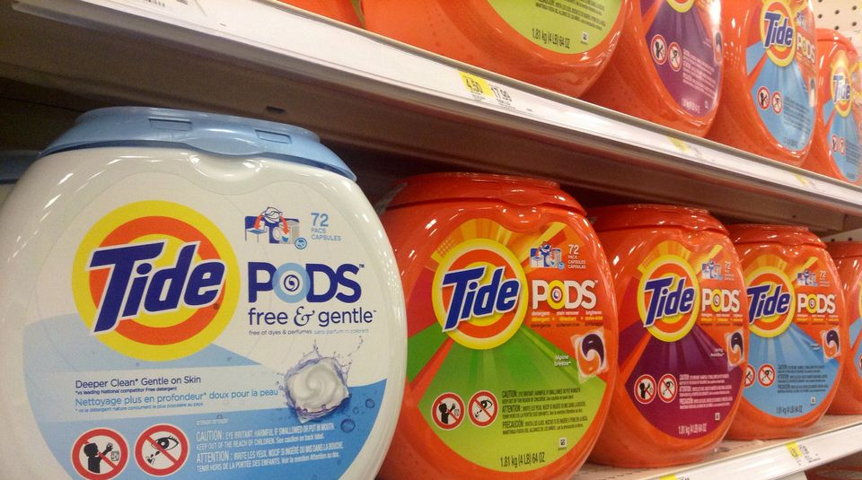 Tide pods lined on store shelf