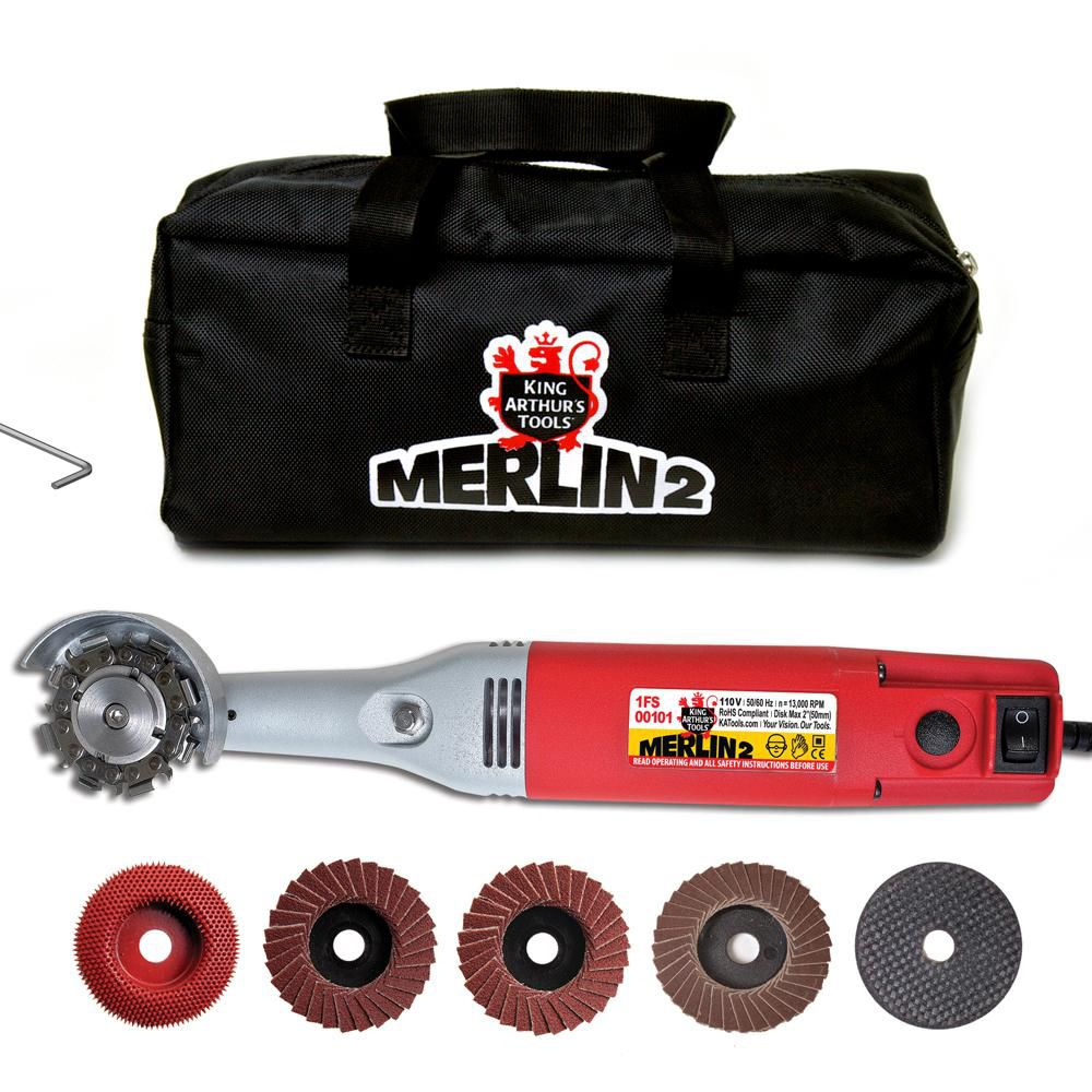 King Arthur's Tools 1 Amp 2 in. Corded Mini Angle Grinder Merlin 2 Carving Set