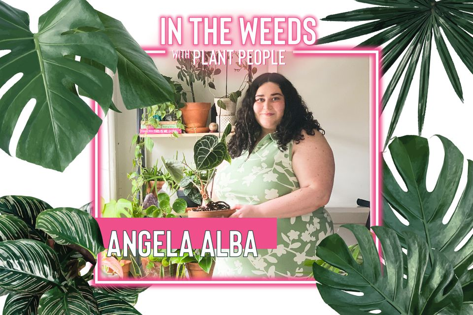 Angela Alba poses with some of her plants for In the Weeds With Plant People
