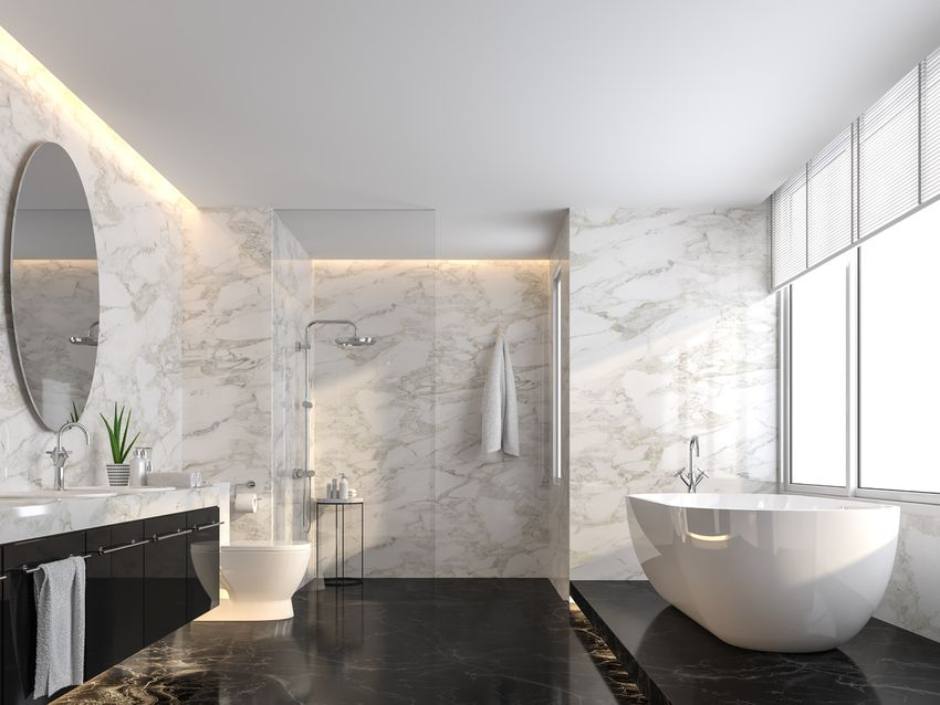 Luxury bathroom with black marble floor and white marble wall