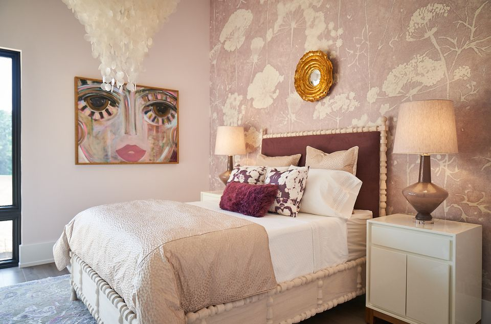Bedroom with soft pinks, mauves, and creams