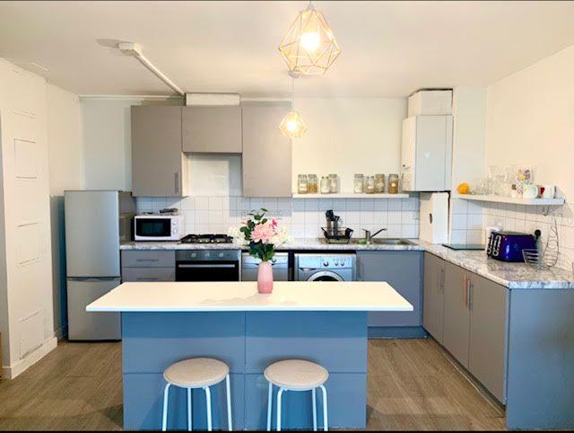 Blue breakfast bar in a kitchen