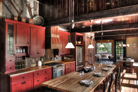 Dark Rustic Red Kitchen