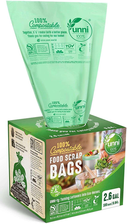 UNNI ASTM D6400 100% Compostable Trash Bags