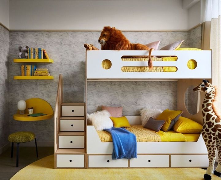 Bunk beds with steps that have drawers.