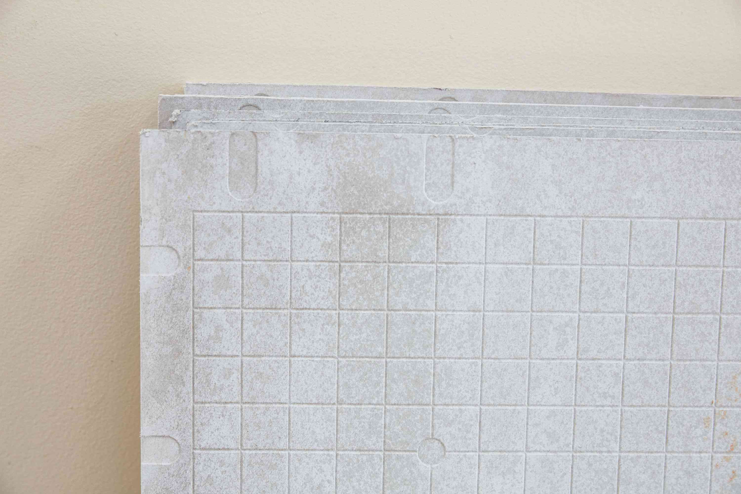 Cement backer boards stacked closeup