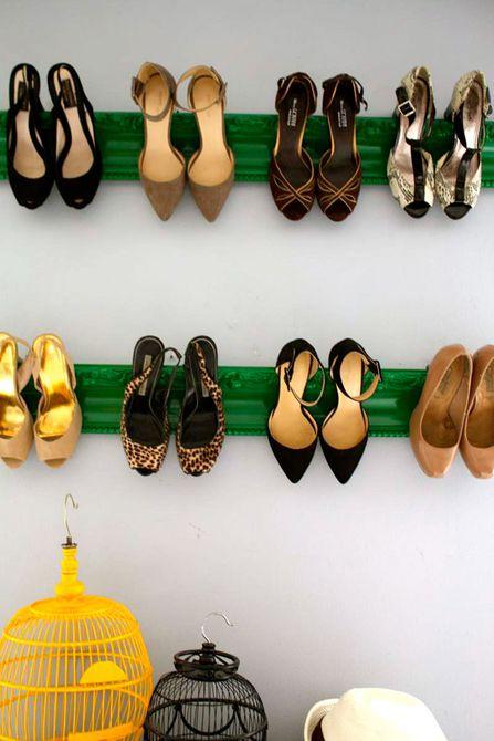 exhibición de zapatos de pared de bricolaje