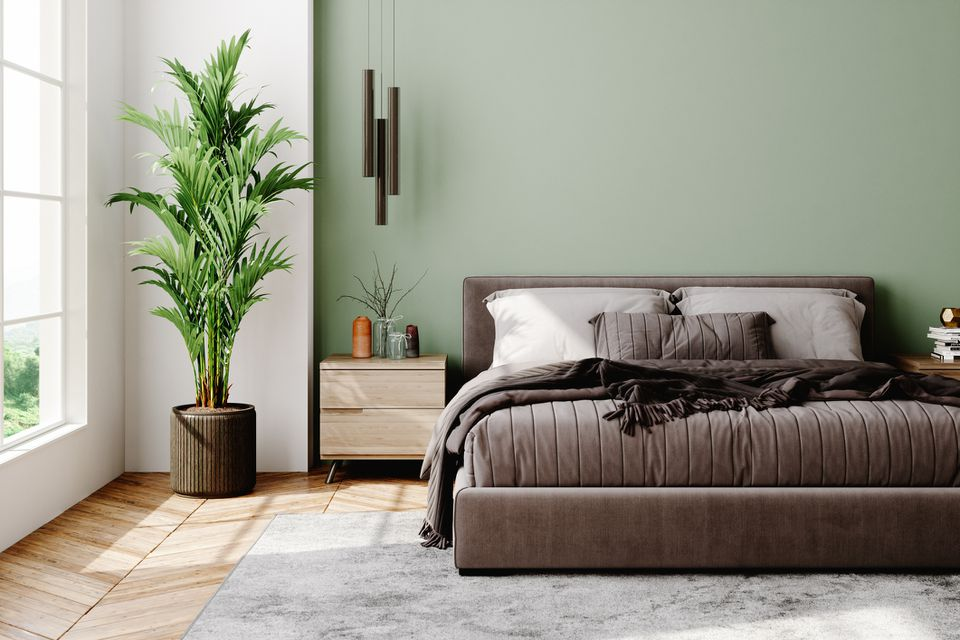 A bedroom with sage green accent wall