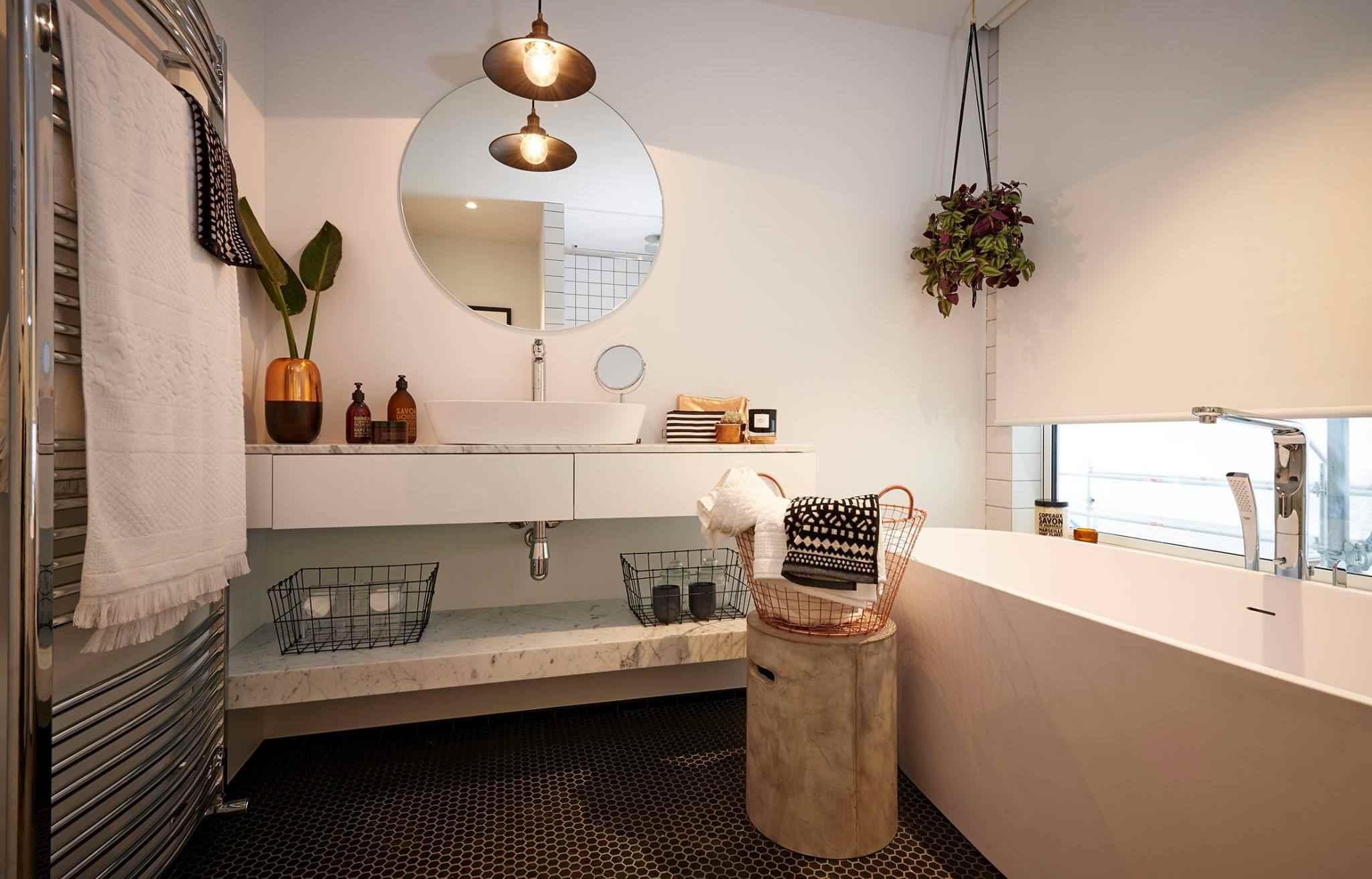 Bathroom with metal baskets