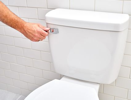 Toilet handle stuck while being pressed down with hand