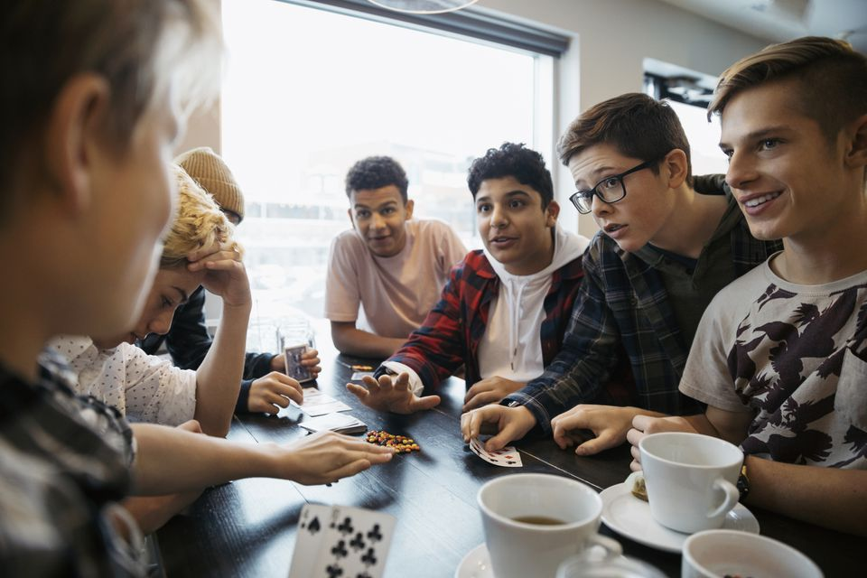 A group of young teen boys hanging out