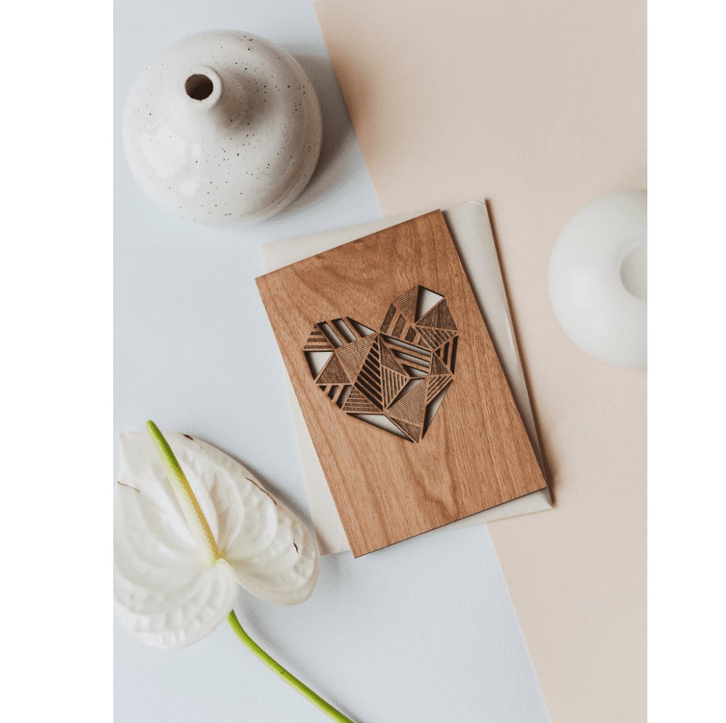 Patchwork Heart Wood Card
