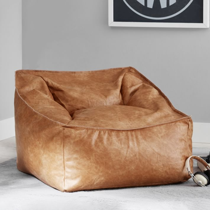 Vegan Leather Caramel Modern Lounger