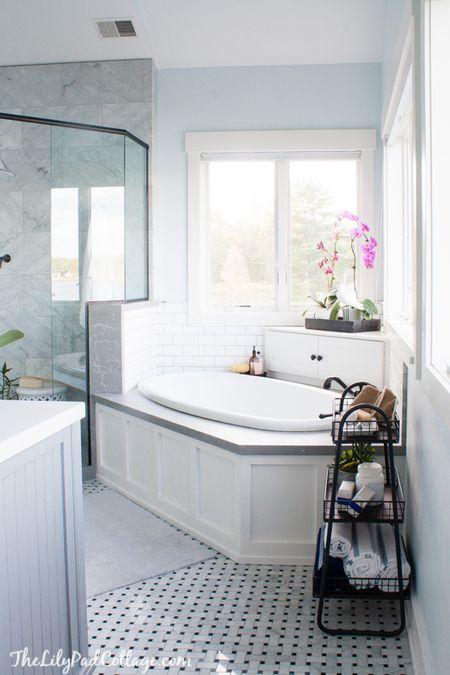 Gray And Blue Bathroom