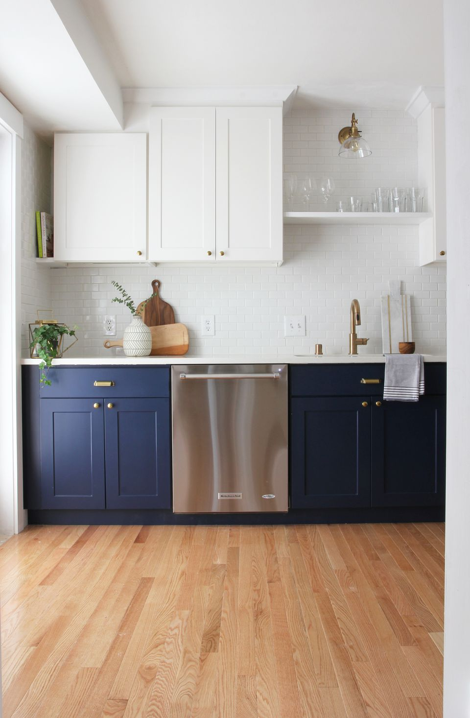 Blue cabinets in kitchen, Sherwin-Williams Naval SW 6244